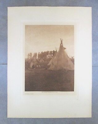 Vintage EDWARD S. CURTIS PHOTOGRAVURE American Indian A CREE CAMP Photo