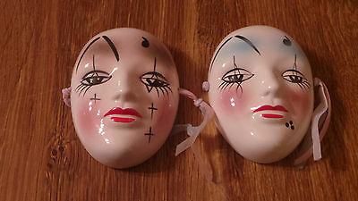 Ceramic Painted Face Masks Made In Taiwan Set Of 2 Used