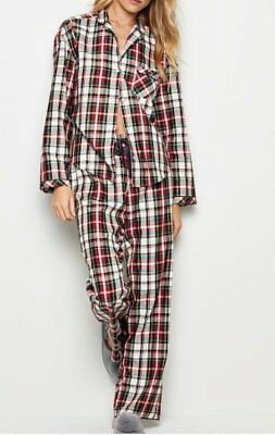 3cf664116b178 VICTORIA'S SECRET THE Flannel Pj Pajamas Set Pink Gray Forever Lurex ...