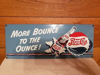 Vintage 1992 Ande Rooney Porcelain Pepsi-Cola Sign More Bounce To The Ounce