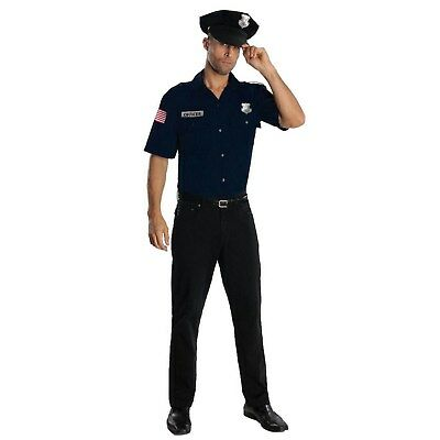 New Rubies Adult 2 Piece Blue Police Officer Costume Size Large 36-38