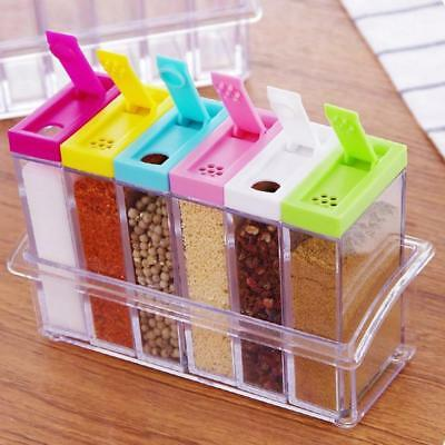 6 Spice Jar Condiment Storage Shaker Seasoning Bottle Container Kitchen Food Box