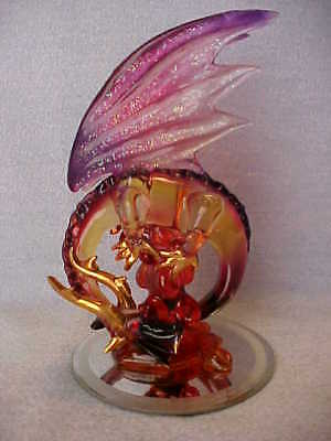 Red Dragon Serpent Large Blown Glass Hand Sculpted with Lavendar Wings