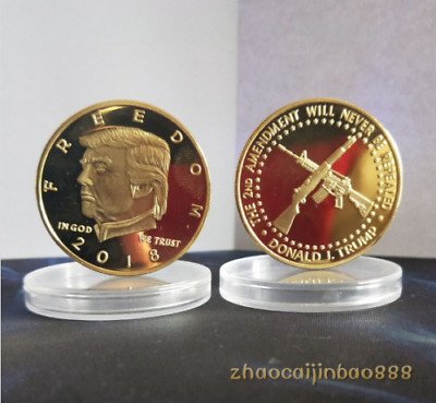 2018 1PC US President Donald Trump Gold Plated Commemorative Coin