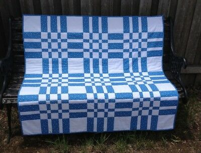 Handmade Patchwork Lap Quilt. Blue and white print.