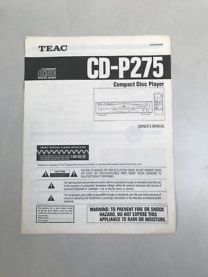 Teac Cd-P275 Compact Disc Player Owners Manual
