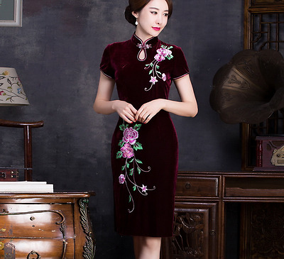 Chinese Traditional Lady's Cheongsam Bridesmaid Evening Dress embroider Qipao