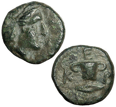 Bronze coin of Kersobleptes, king of Thrace, c.359-340 BCE.  Skyphos and barley.