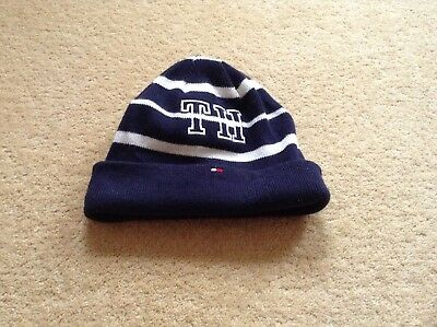 Tommy Hilfiger baby hat,  blue and white striped,  one size