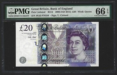 2015 Great Britain Bank of England 20 Pounds PMG 66 EPQ, GEM UNC P-NEW, Cleland