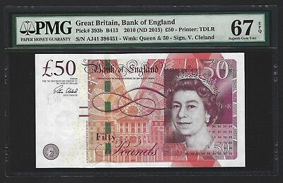 2015 Great Britain Bank of England 50 Pounds PMG 67 EPQ SUPERB GEM UNC P-393b 2