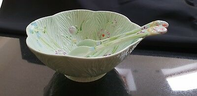 Collectors Vintage Art Deco Beswick Flowered Bowl And Serving Spoons Vgc