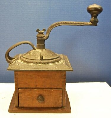 ANTIQUE Cast Iron & Wood Coffee Grinder Dovetailed Hand Crank