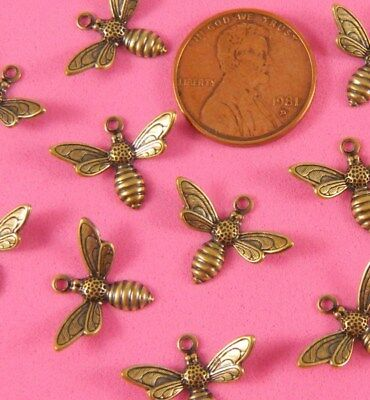 Antique Copper Plated Brass Small Detailed Bee Charms/drops - 4 Pcs