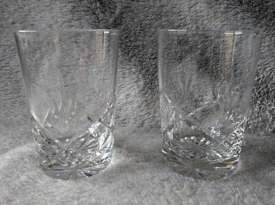 Pair of Royal Brierley Crystal Whisky Tumblers Bruce Pattern Excellent DAD GIFT