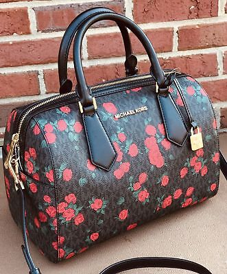9339d1d3f90c Michael Kors MK Signature Black Floral Roses Large Duffle Bag & WALLET SET