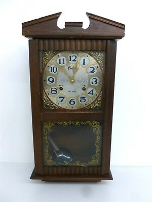 """Vintage 22"""" Wooden Centurion Korea 35 Day Wind Up Wall Clock W/ Key (Untested)"""