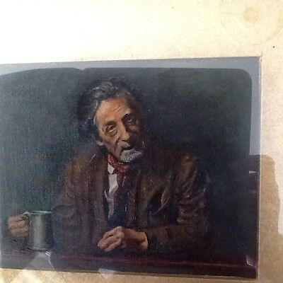 Fine Antique Oil Painting - Old Man Enjoying a Beer