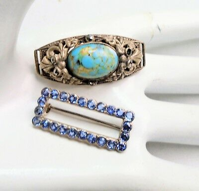 Vintage Deco silver metal, marcasite & turquoise glass brooch + 1