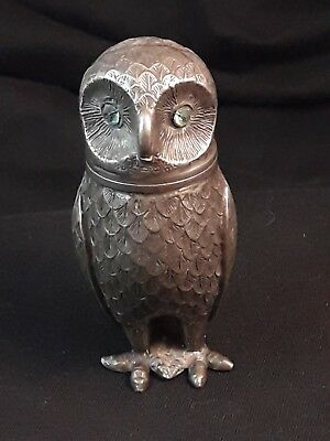 Georgian / Victorian RARE Owl Pounce Pot Pewter with Blue Glass Eyes Desk Item