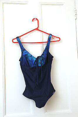 Vintage blue designer swimming costume  swimsuit by Crool 1960s Size 12/14 VGC
