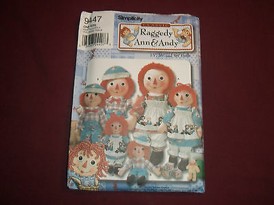 """2000 Simplicity pattern 9447 Raggedy Ann Andy dolls 15"""" 26"""" 36"""" sewing"""