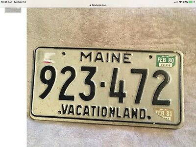 1980 Maine License Plate Tag, Vacationland. Very Good Cond