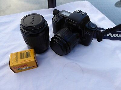 Canon Eos 1000F Film camera + Canon 35 - 80mm and 80 - 200mm Lenses with filters