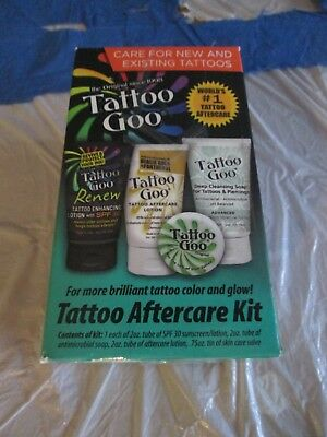Tattoo Goo Aftercare Kit 4 PC Cleansing Soap Salve Tins Lotion Renew Sunscreen