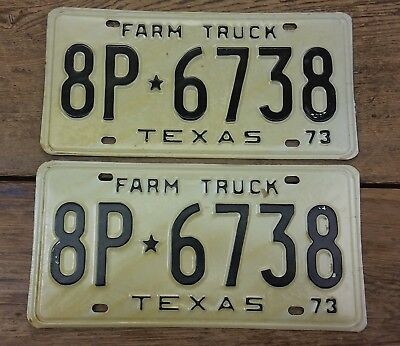 VINTAGE 1973 TEXAS FARM TRUCK LICENSE PLATE SET New Old Stock