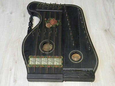 antique LAUSMANN KONZERT VIOLIN HARFE ZITHER Germany Concert Violin Harp 1920s