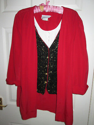 Vintage USA Dynasty/costume/theatre red/black/gold jacket/waistcoat/blouse panel