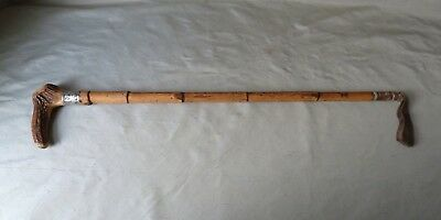 Vintage Bamboo Riding Crop with Antler Handle and White Metal Mount