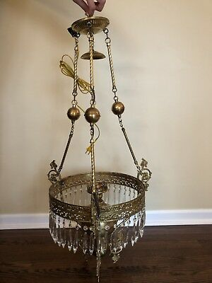 Antique Victorian Hanging Brass Oil Lamp Chandeleir Light