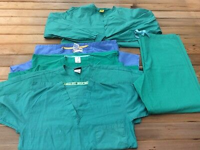 Lot Of 6 Women's Nursing Scrub Tops & Bottom Size Small & Xsmall, Surgical Green