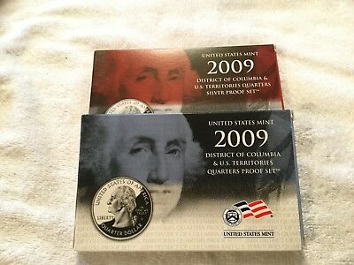 2009 U.S. State Quarter Silver and Clad Proof Sets w/ CASES & COA