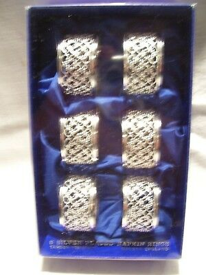 6 Silver Plated Napkin/serviette Rings Tarnish Resist Boxed See More C'bine P&p