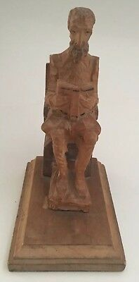 Vintage Hand Carved Wood Bookend Man Reading Book