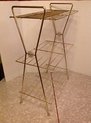 Vintage Gold Plant Stand Shelf End Table Metal Wire Mid Century Retro Atomic