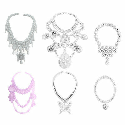 6pcs Fashion Plastic Chain Necklace For Barbie Doll Party Accessories X2