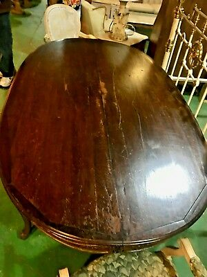 Antique Solid Mahogany Dining Table Hand Carved Details Queen Ann Style 7'x4'