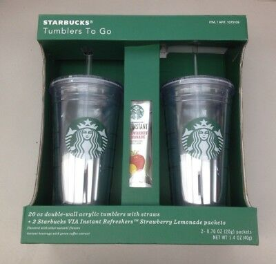 NEW Starbucks Tumblers 2 Pack 20 oz. Double-Wall Acrylic Cold Cup   O6409-L2