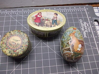 Set of 3 Vintage Tins Metal Easter Container Rabbit Egg - Round Bird - Oval