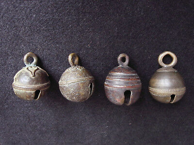 4 Antique Bronze Bells, extraordinary Set, Cambodia, Bronzeglocken