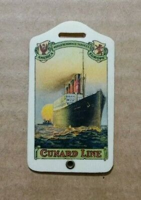 Cunard Line Celluloid Baggage Tag,1930's