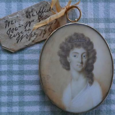 FINE FRENCH 18thC PORTRAIT MINIATURE YOUNG LADY SIGNED MOURNING HAIR BACK 1796