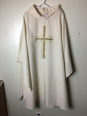 White Vestment with Gold Cross + Chasuble