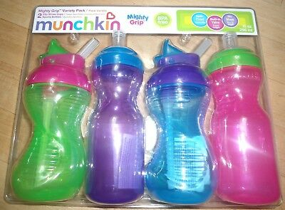 4 pack NEW MUNCHKIN Mighty Grip Variety 2 set SPORTS BOTTLES FLIP STRAW CUPS 10