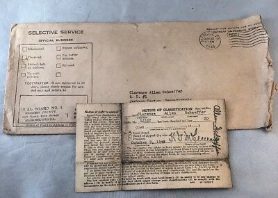 WWII Draft Card Notice - Named - Dated Oct 3, 1943