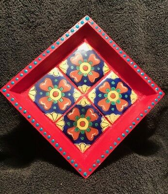 Small Hand Painted Wood Tray with 4 MexIcan tiles Signed by artist.